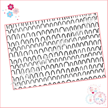 Black and White Patterned Doodle Cake Wrap A4 Edible Printed Sheet - Design 1