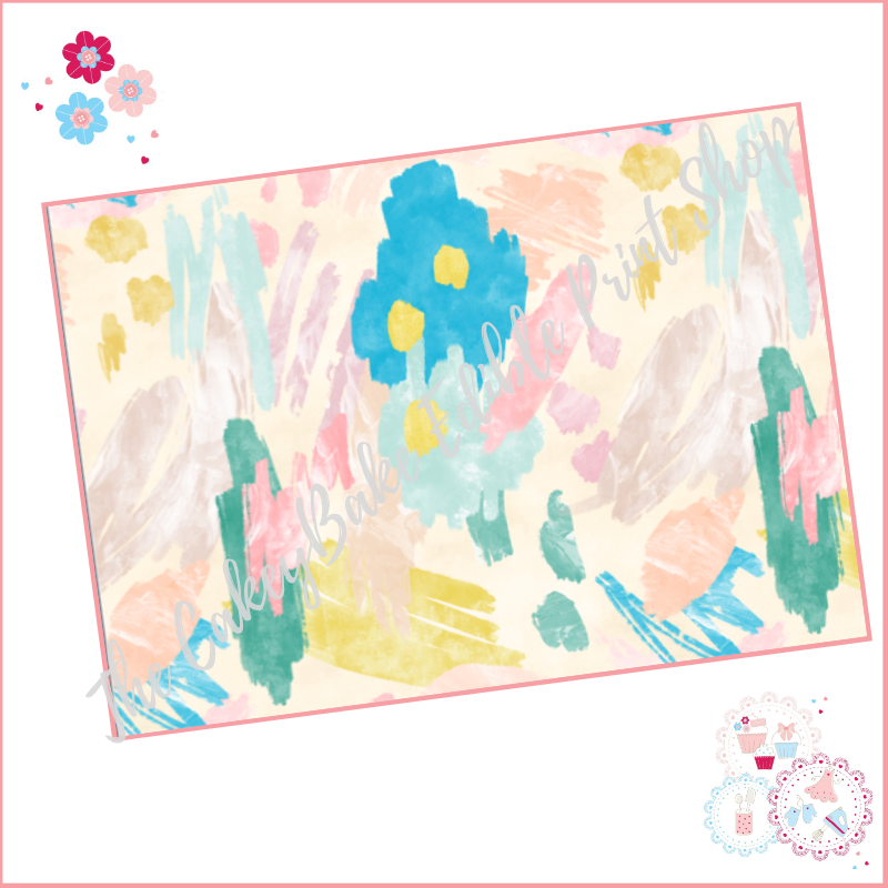 Abstract Watercolour Paint Effect Cake Wrap A4 Edible Printed Sheet - Desig