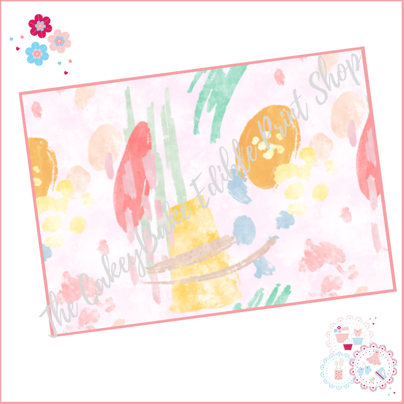 Abstract Watercolour Paint Effect Cake Wrap A4 Edible Printed Sheet - Desig
