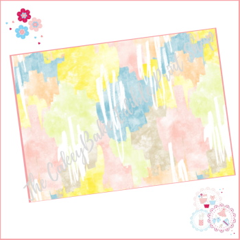 Abstract Watercolour Paint Effect Cake Wrap A4 Edible Printed Sheet - Design 5