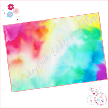 Watercolour Abstract Paint Blend Effect Cake Wrap Edible Printed Sheet - Design 1