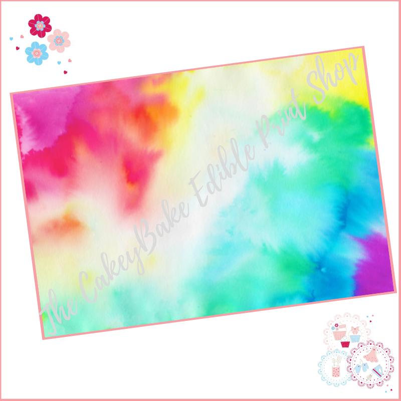 Watercolour Abstract Paint Blend Effect Cake Wrap Edible Printed Sheet - De