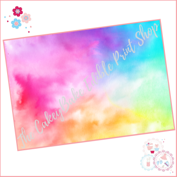 Watercolour Abstract Paint Blend Effect Cake Wrap Edible Printed Sheet - Design 3