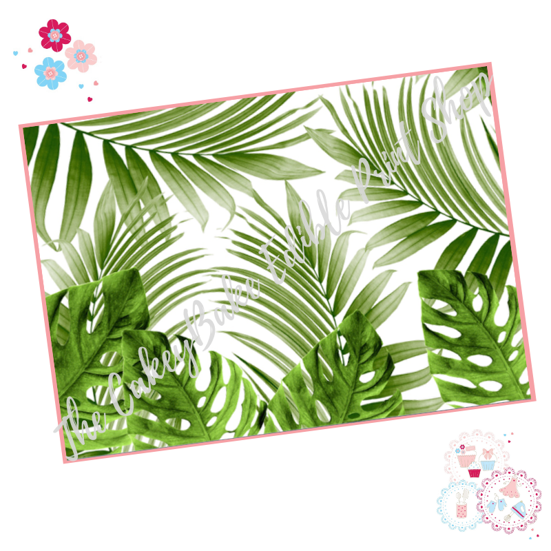 Tropical Leaves A4 Edible Printed Sheet - Large green palm leaves border ic