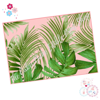 Tropical Leaves A4 Edible Printed Sheet - Large green palm leaves border with pink background icing sheet
