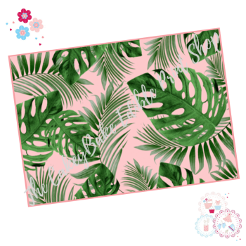 Tropical Leaves A4 Edible Printed Sheet - Mixed Monstera banana leaves with pink background