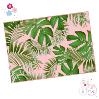 Tropical Leaves A4 Edible Printed Sheet - Mixed palm leaves with pink background