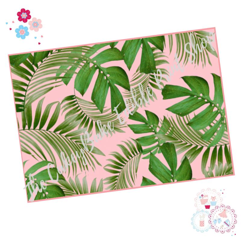 Tropical Leaves A4 Edible Printed Sheet - Mixed Monstera banana leaves with