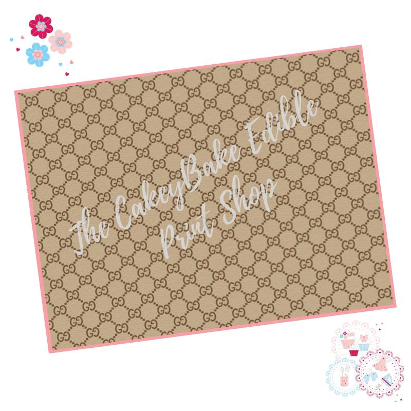 Edible Icing Sheet - Gucci Designer Logo Icing Sheet (portrait or landscape