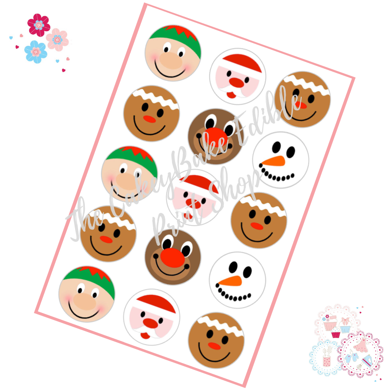Edible Cupcake Toppers x 12 - Cute Christmas Faces