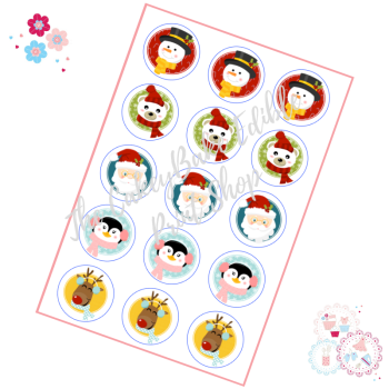 Edible Cupcake Toppers x 15 - Santa & Friends