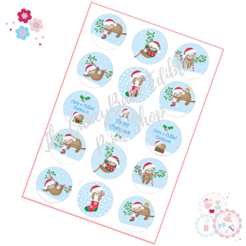 Edible Cupcake Toppers x 15 - Christmas Sloth Cupcake Toppers
