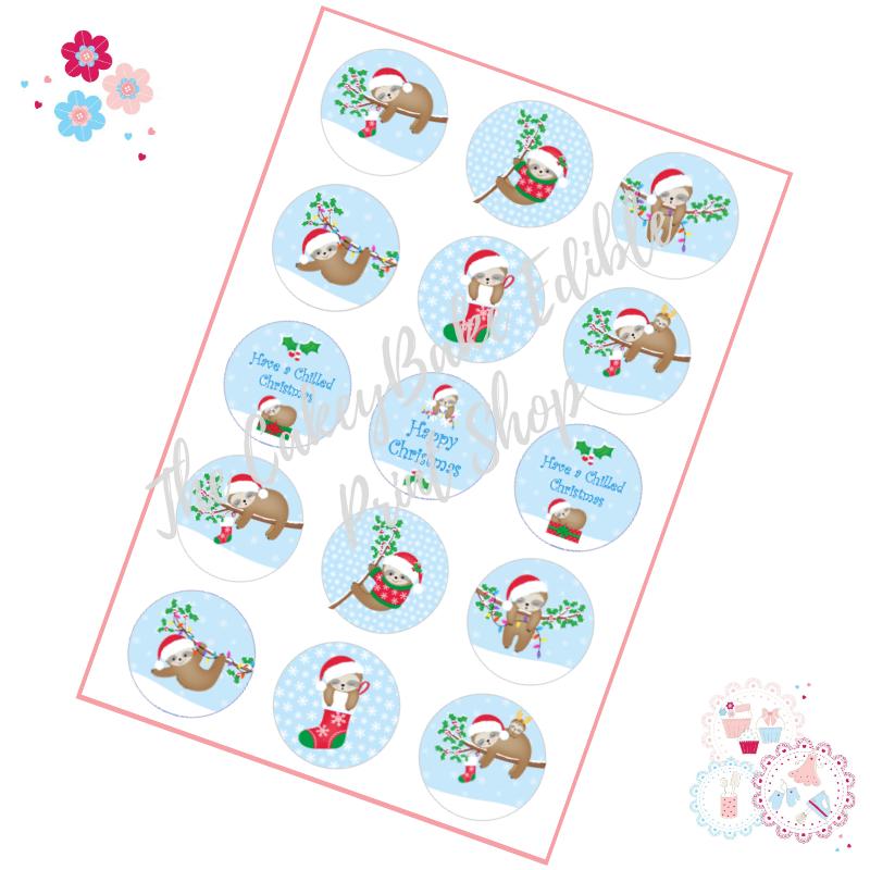 Edible Cupcake Toppers x 15 - Christmas Sloth Cupcake Toppers