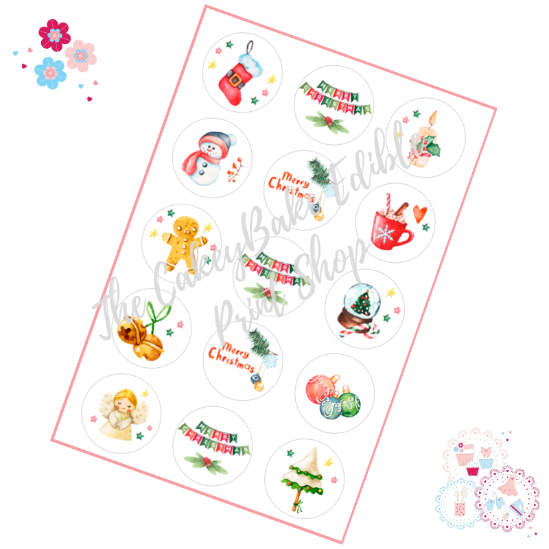 Edible Cupcake Toppers x 15 - Christmas Watercolour Cupcake Toppers