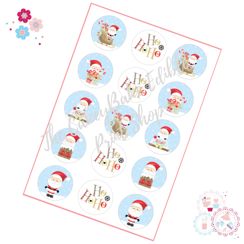 Edible Cupcake Toppers x 15 - Christmas Santa Cupcake Toppers