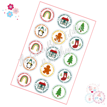Edible Cupcake Toppers x 15 - Retro style Christmas Cupcake Toppers