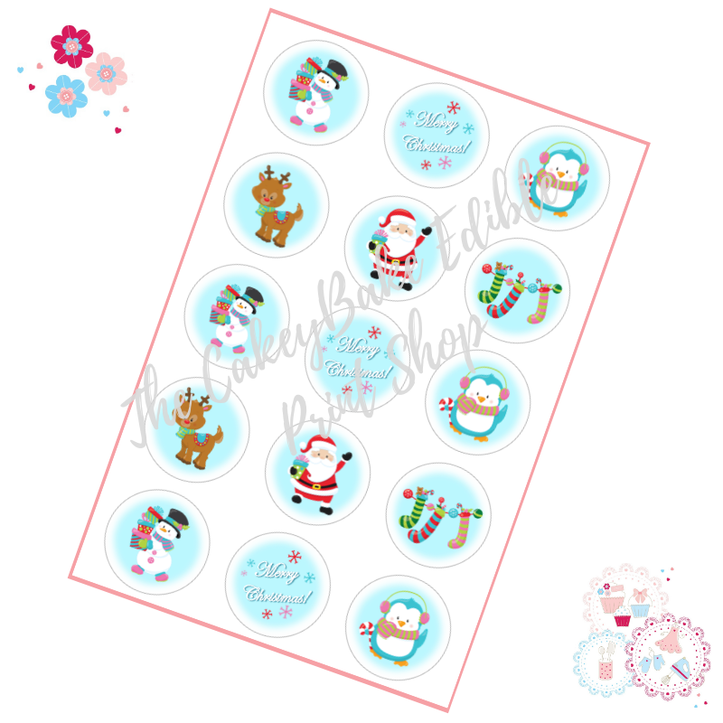 Edible Cupcake Toppers x 15 - Santa Cute Christmas Cupcake Toppers