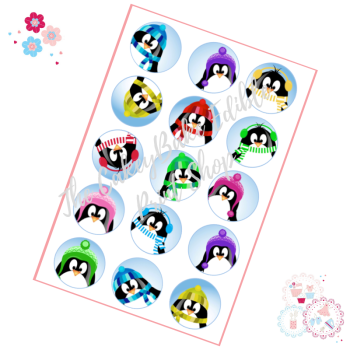 Edible Cupcake Toppers x 15 - Winter Penguin Faces