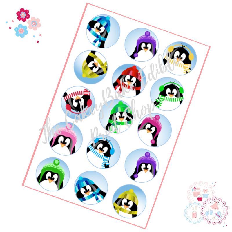 Edible Cupcake Toppers x 12 - Penguin Faces