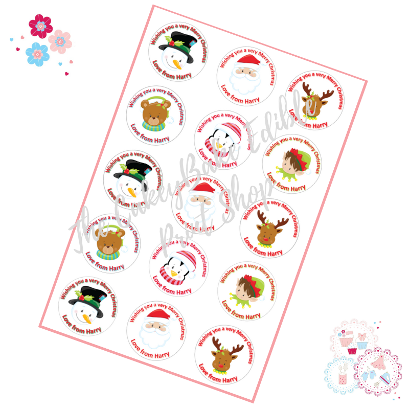 Edible Cupcake Toppers x 15 - Merry Christmas Cupcake Toppers - personalise