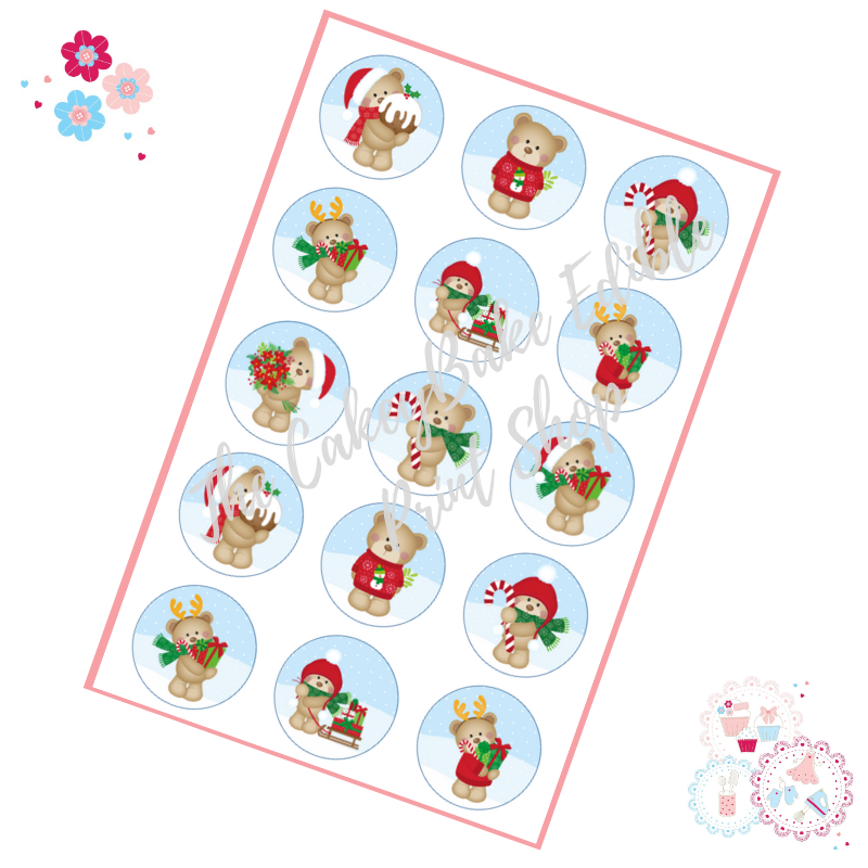 Edible Cupcake Toppers x 15 - Cute Teddy Bear Christmas Cupcake Toppers