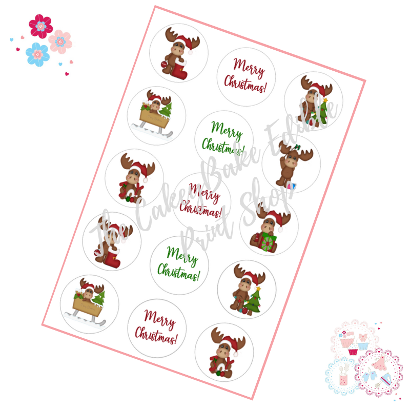 Edible Cupcake Toppers x 15 - Cute Reindeer Designs