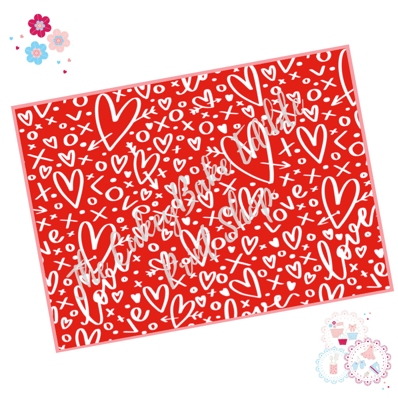 Red and White Graffiti Love Heart Cake Wrap Edible Printed Sheet - Design 1