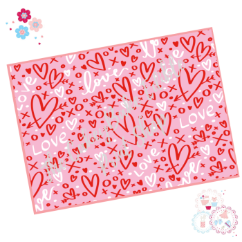Pink, White and Red Graffiti Love Heart Cake Wrap Edible Printed Sheet - Design 2
