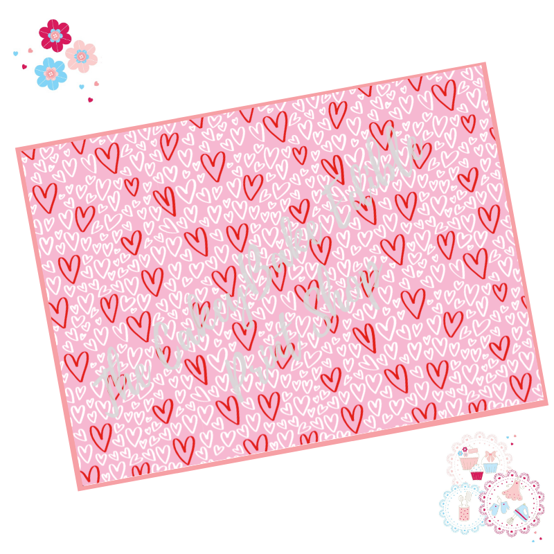 White and Red Graffiti Love Hearts on a Pink background Cake Wrap Edible Pr