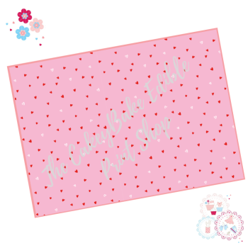 White and Red Polka Love Hearts on a Pink background Cake Wrap Edible Printed Sheet - Design 4