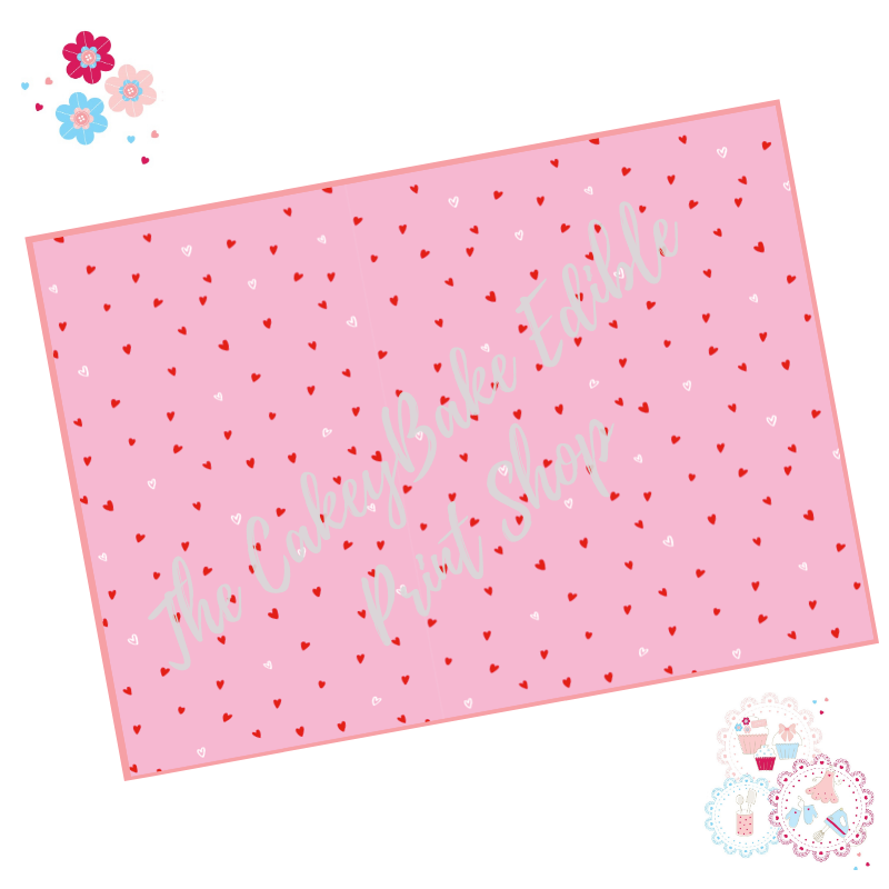 White and Red Polka Love Hearts on a Pink background Cake Wrap Edible Print