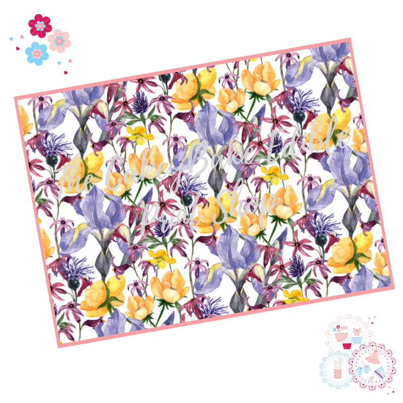 Purple Iris and Yellow Watercolour Flowers Floral A4 Edible Printed Sheet