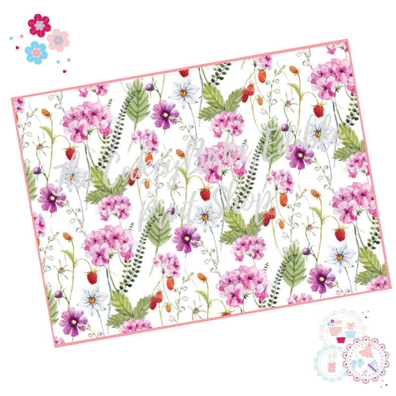 Pale Pink Meadow flowers Floral A4 Edible Printed Sheet