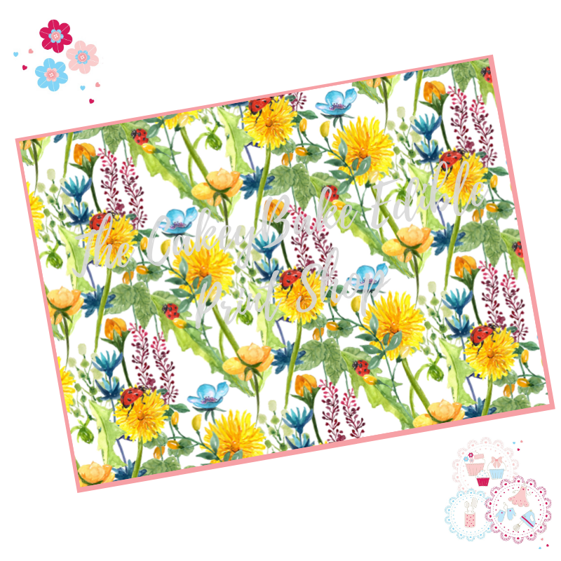Yellow Meadow flowers Floral A4 Edible Printed Sheet