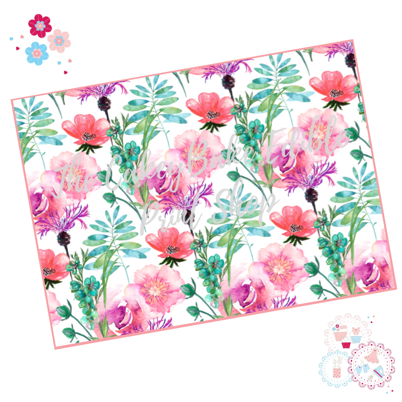 Pink and Purple flowers Floral A4 Edible Printed Sheet