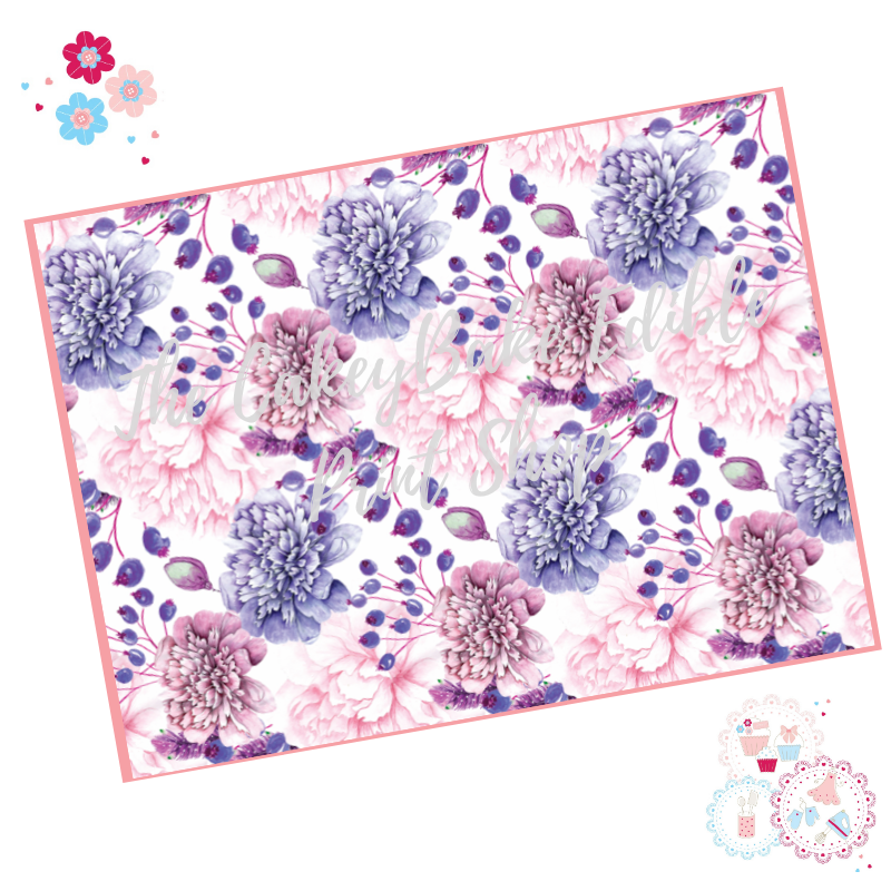 Purple and Pink Carnation flowers Floral A4 Edible Printed Sheet
