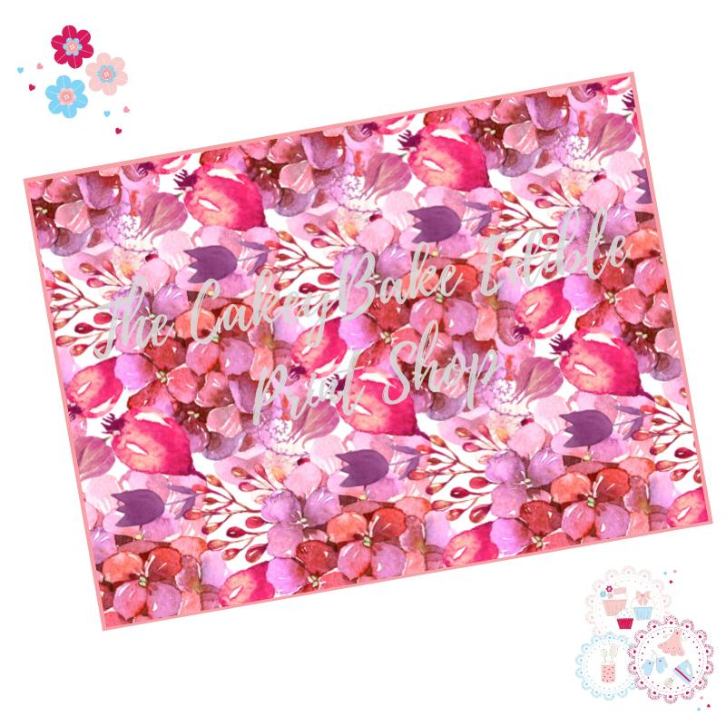Pink Hydrangeas berries flowers Floral A4 Edible Printed Sheet