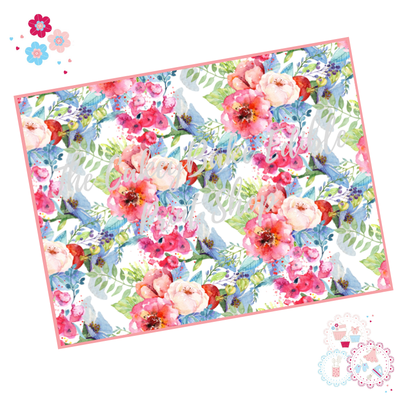 Poppy and Rose Bouquet flowers Floral A4 Edible Printed Sheet