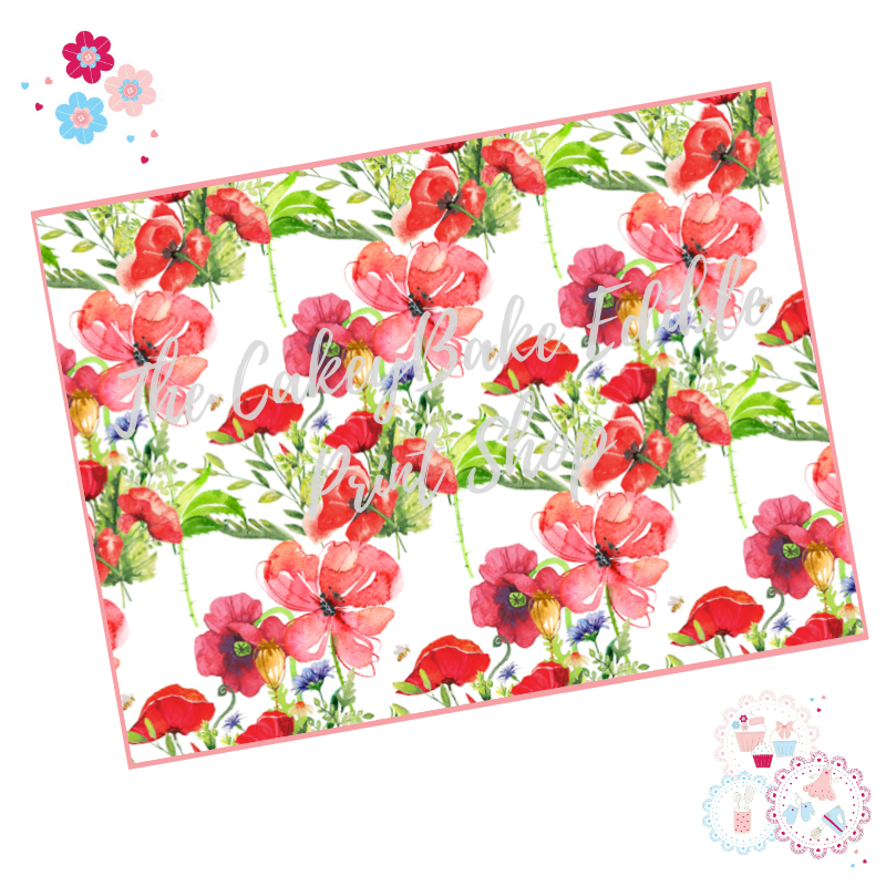 Poppy field flowers Floral A4 Edible Printed Sheet