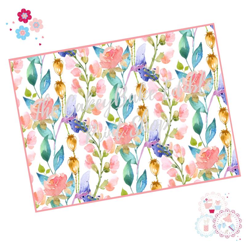 Watercolour flowers Floral A4 Edible Printed Sheet