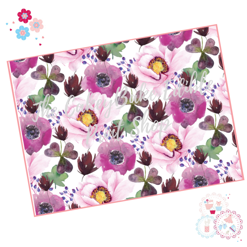 Purple Watercolour flowers Floral A4 Edible Printed Sheet