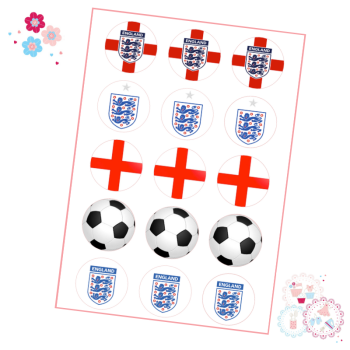Edible Cupcake Toppers x 15 - England Football Cupcake Toppers