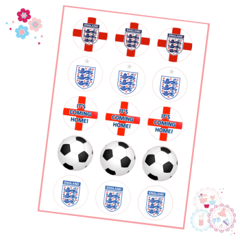 Edible Cupcake Toppers x 15 - England Football Cupcake Toppers - It's Coming Home!