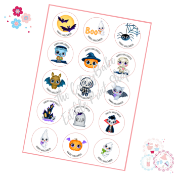 Cute Characters Halloween Cupcake Toppers