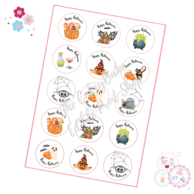 Cute Painted style Halloween Cupcake Toppers