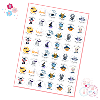 Cute Characters Halloween Cupcake Toppers - mini cupcake toppers x 48
