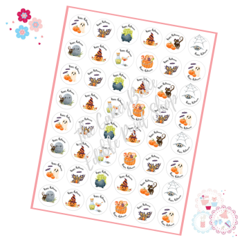 Cute Painted style Halloween Cupcake Toppers - mini cupcake toppers x 48