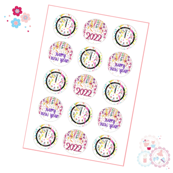 Edible Cupcake Toppers x 15 - New Year's Eve Confetti