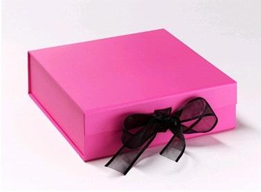 Luxury Cupcake Box with Ribbon - Bright Pink