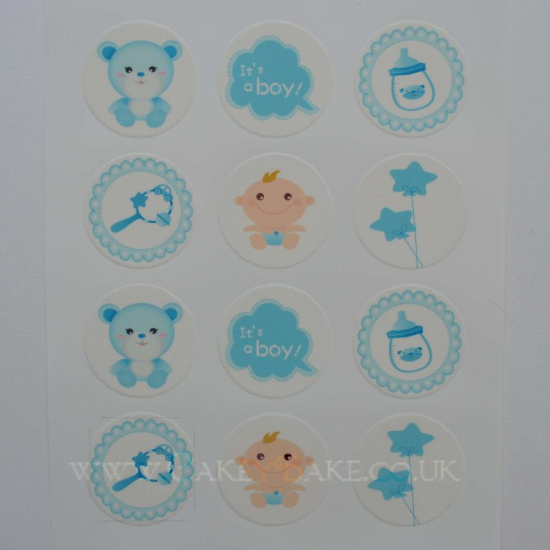 Edible Cupcake Toppersx12 - Baby Boy Design